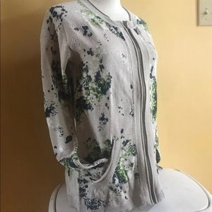 Floral Zip Up Cardigan Eddie Bauer Sz M